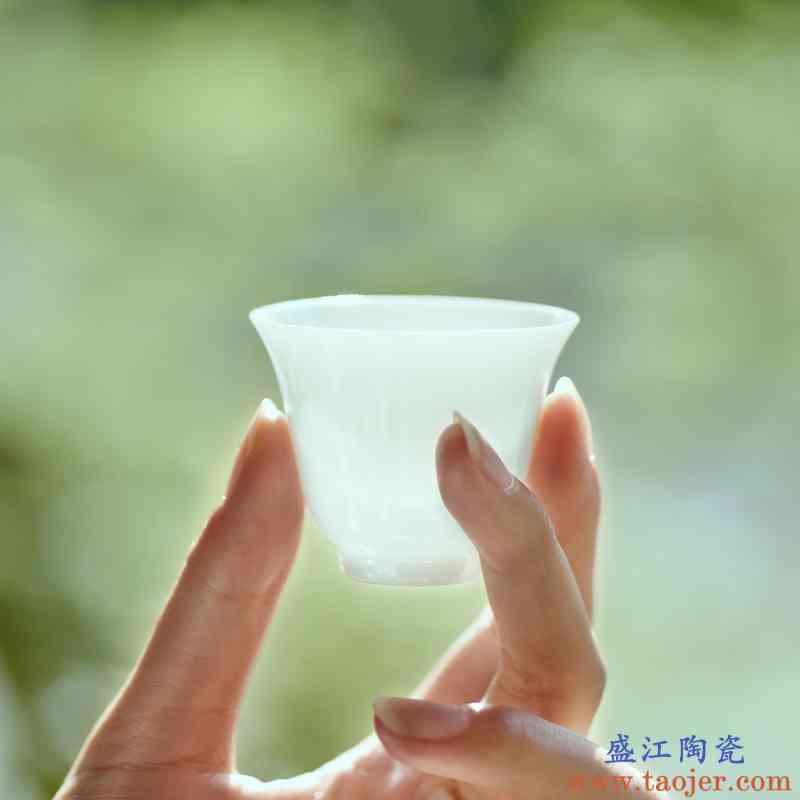 甜白釉功夫茶杯品茗杯纯白瓷主人杯单杯陶瓷景德镇茶具茶盏小茶杯
