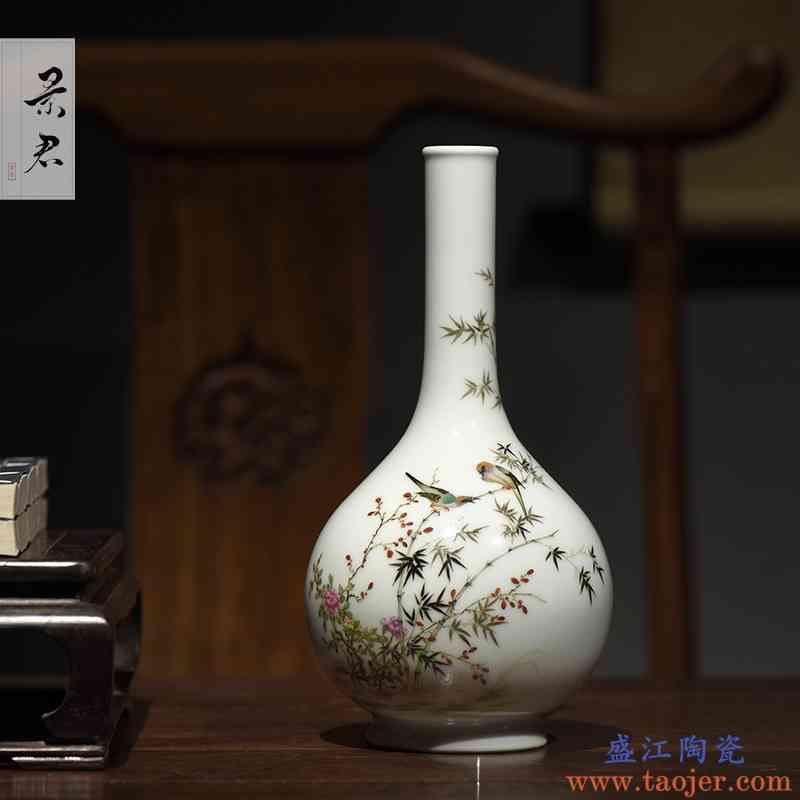 景德镇粉彩瓷器大师手绘 中式花瓶陶瓷 客厅玄关装饰工艺品摆件