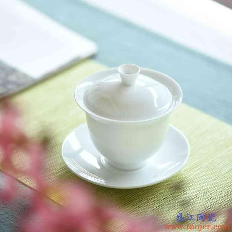 甜白釉景德镇纯手工盖碗茶杯 白瓷功夫茶具茶碗 薄胎三才盖碗大号