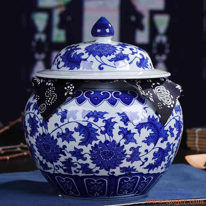 景德镇陶瓷 青花防潮茶叶罐茶罐 复古普洱茶罐密封大号创意茶具
