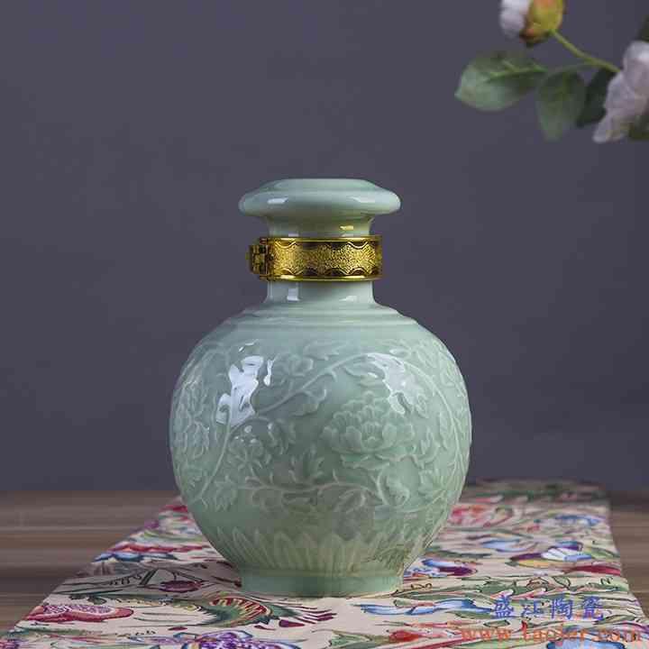景德镇影青釉陶瓷密封三斤装泡酒瓶 3斤装高温颜色釉空白酒坛子