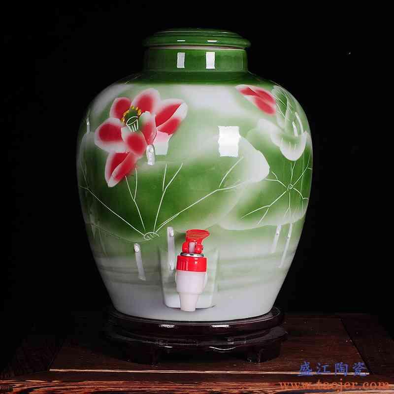 景德镇陶瓷泡酒坛 颜色釉雕刻10.20.30.50斤酒坛五十斤酒瓶带龙头