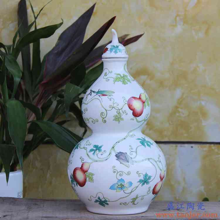 景德镇陶瓷酒壶 五斤装陶瓷泡酒瓶 5斤装粉彩葫芦酒坛密封酒具