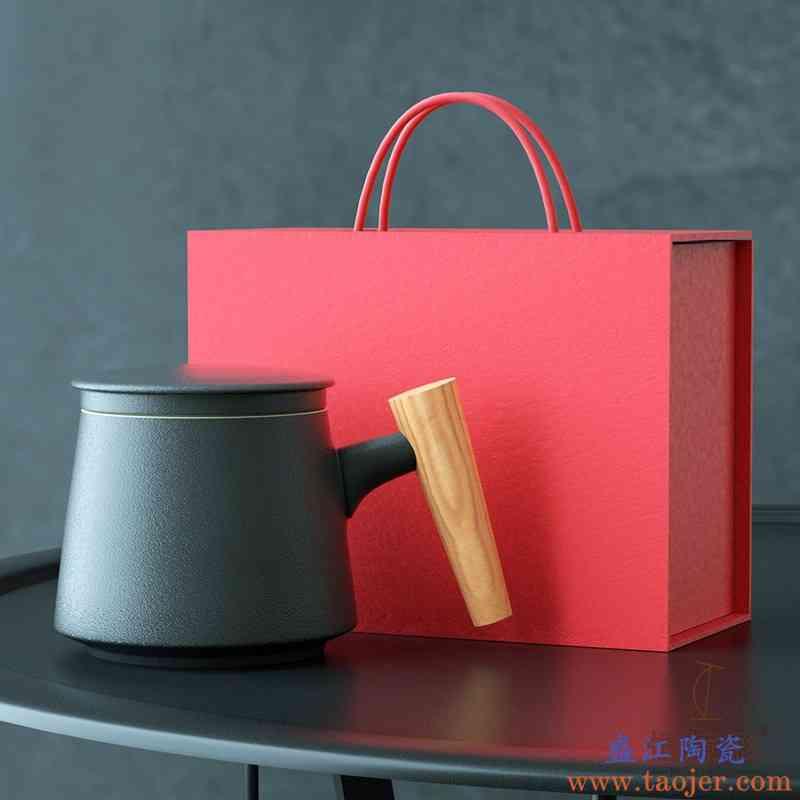 木柄陶瓷泡茶杯带盖过滤茶杯茶水分离杯子花茶杯办公杯定制