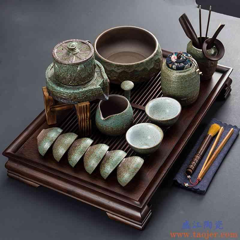 石磨半全自动功夫茶具套装懒人简约陶瓷个性创意家用茶壶杯泡茶器