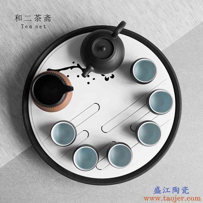 陶瓷茶盘托盘家用储水式大号圆形创意日式蓄水功夫茶茶具干泡茶台