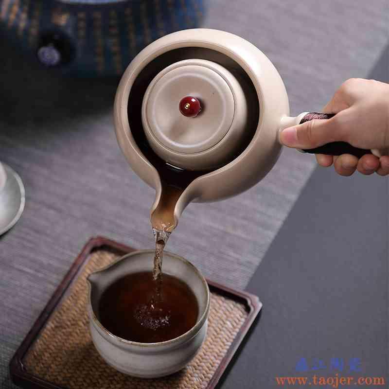 手工陶壶家用竞技宝app苹果官方下载泡茶壶功夫茶侧把煮茶壶陶瓷煮茶器小青柑泡茶壶
