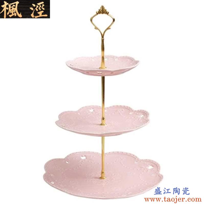 水果盘创意 个性 时尚枫泾家用陶瓷欧式三层点心盘蛋糕盘多层糕点