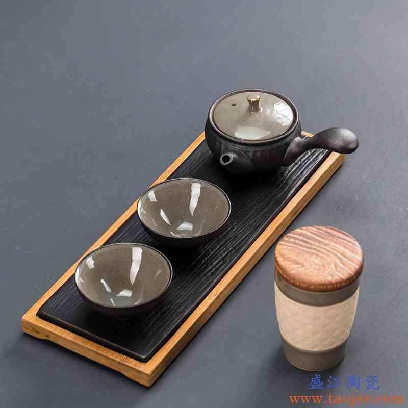 黑陶一壶两杯二杯家用功夫茶具小套装简约便携泡茶壶干泡茶盘礼盒