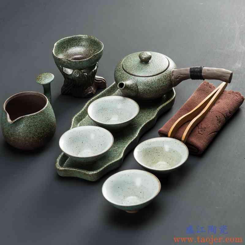日式功夫茶具套装家用陶瓷快客茶杯茶壶粗陶简约便携旅行一壶二杯