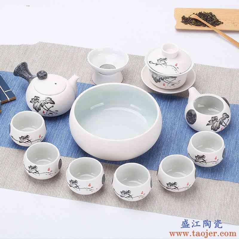 雪花12头侧把清韵雪花釉陶瓷功夫茶具套装家用茶壶盖碗茶杯简约