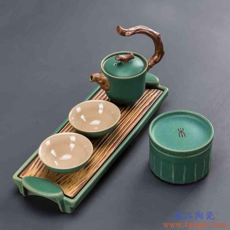 功夫茶具小套装一壶两杯二杯陶瓷茶盘家用简约办公泡茶壶干泡茶台