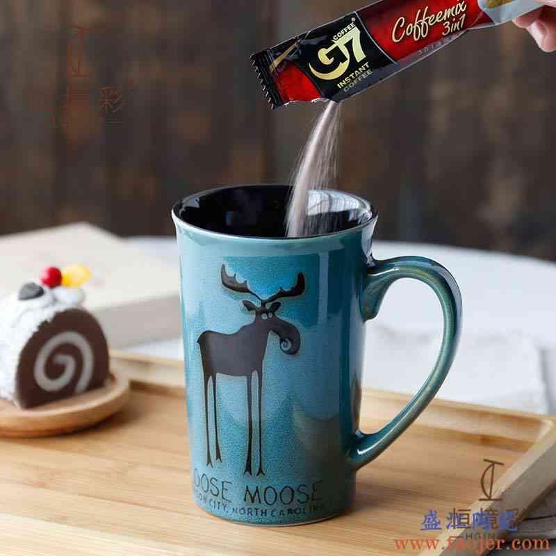 北欧风ins马克杯带盖勺陶瓷水杯简约清新森系大容量牛奶咖啡杯子