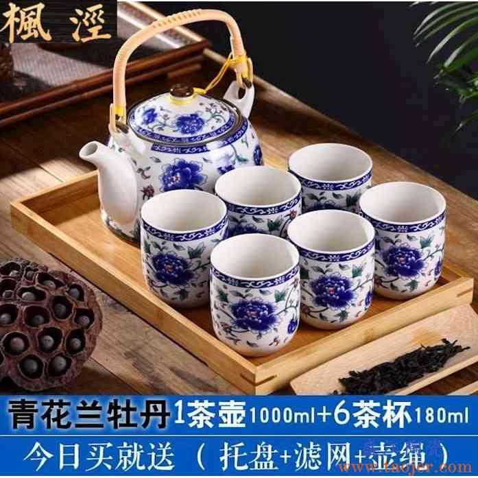 茶具套装家用陶瓷整套 加强版景德镇功夫整特价提梁壶水壶茶壶茶