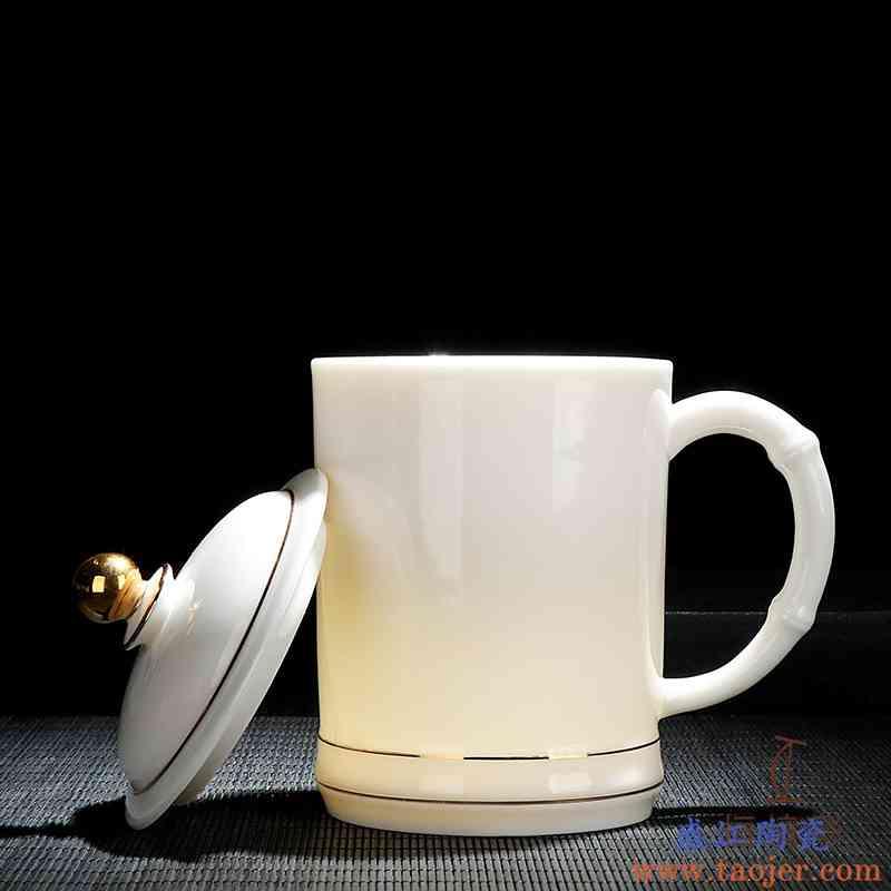 德化白瓷手工陶瓷竹节杯带盖陶瓷家用办公会议节日送礼品logo定制