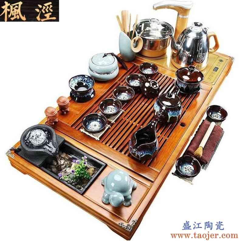 茶具套装 家用 客厅 泡茶紫砂流水现代实木茶盘办公室全自动一体