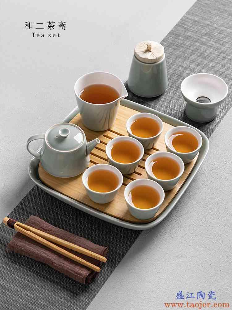 功夫茶具礼盒套装家用日式简约陶瓷喝茶泡茶整套茶壶茶杯子6只装
