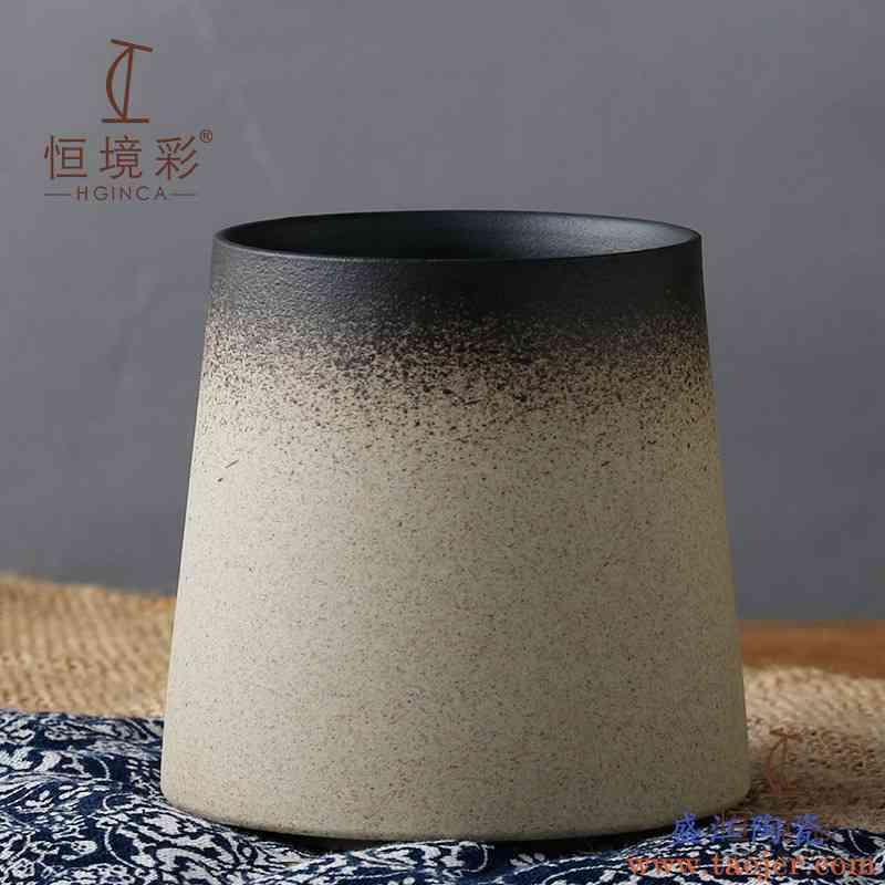 复古日式简约马克杯文艺陶瓷杯子磨砂咖啡杯家用随手杯圆口大肚杯