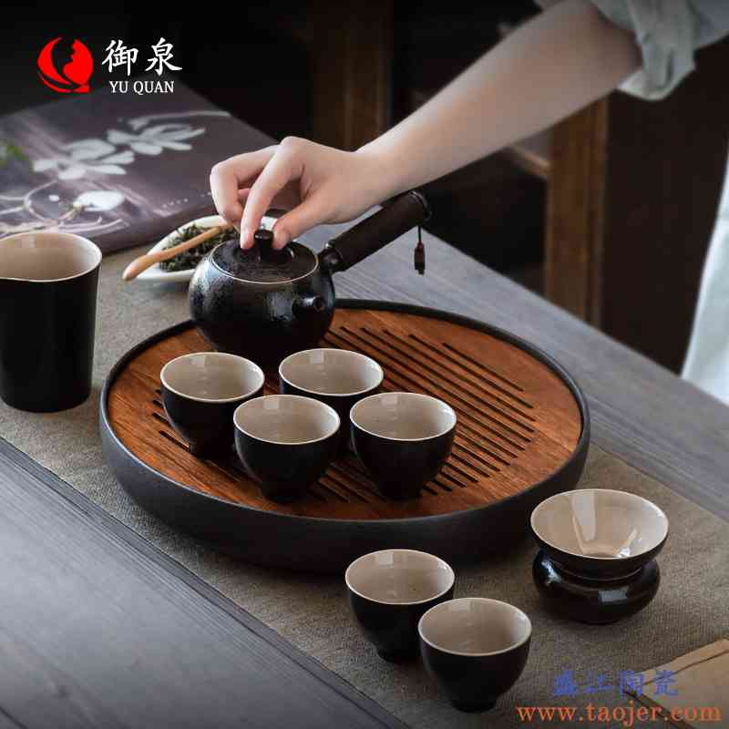 御泉黑陶功夫茶具套装家用整套陶瓷侧把茶壶茶杯现代简约干泡茶盘