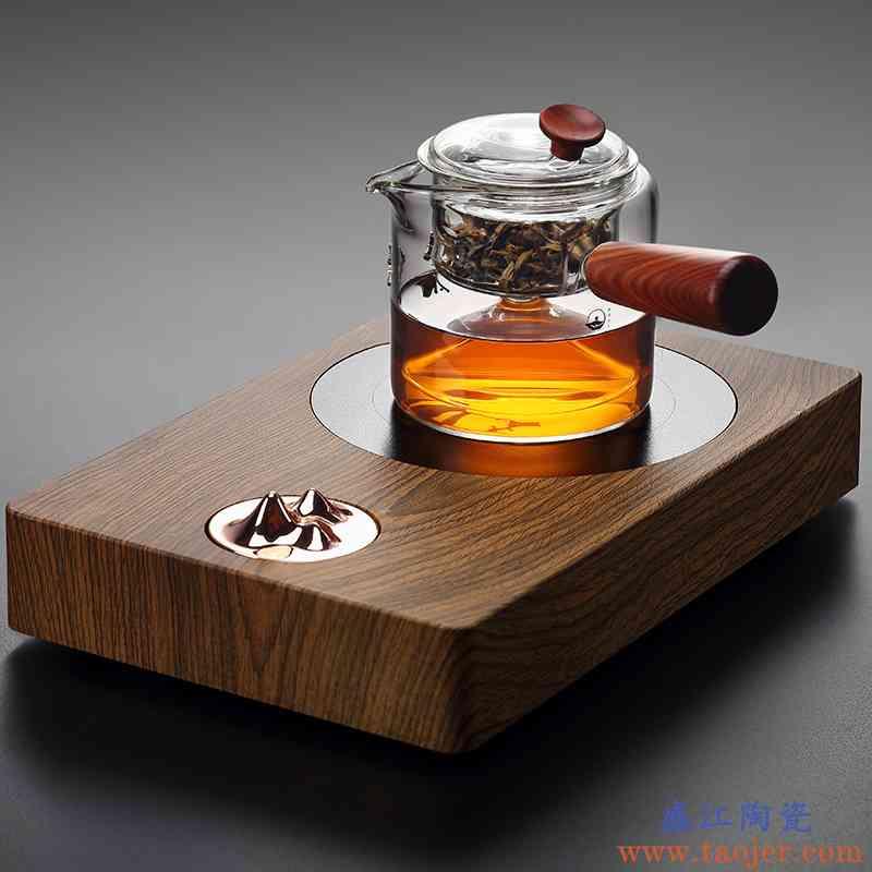 镶银玻璃蒸茶器耐热侧把壶加厚煮茶器自动过滤泡茶壶电陶炉竞技宝app苹果官方下载