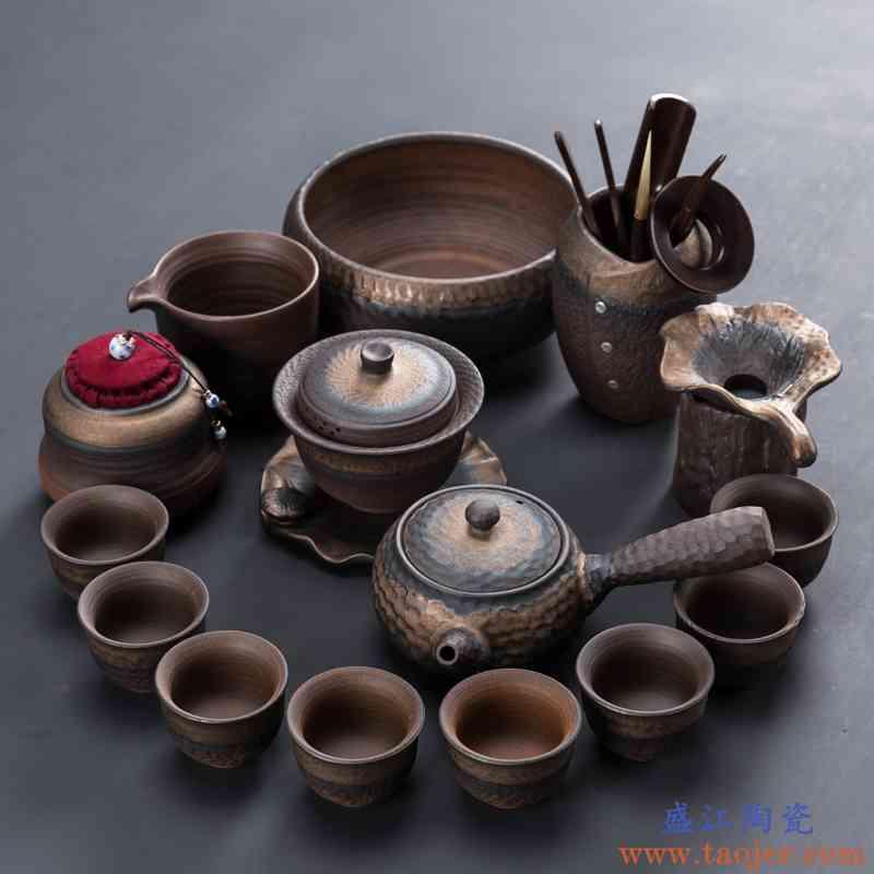 粗陶茶具套装陶瓷功夫茶具整套家用简约办公茶壶茶杯茶盘盖碗复古