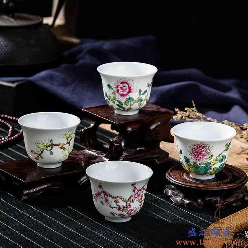 景德镇粉彩12十二花神杯纯手工品茗杯主人杯单杯女手绘茶具一套
