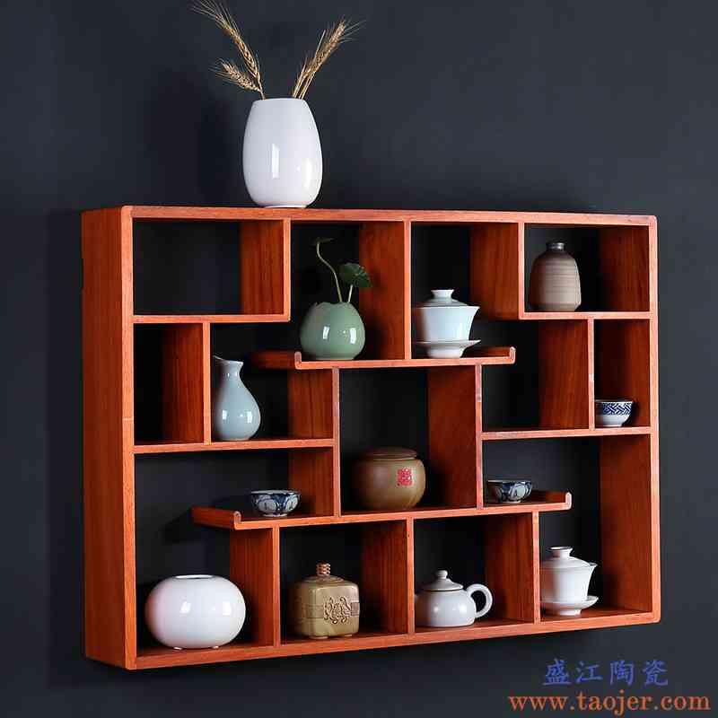 花梨木博古架挂墙架茶紫砂壶架子中式展示柜多宝阁红木置物架茶架