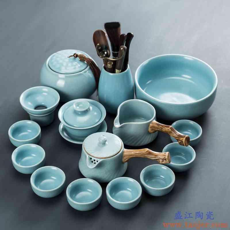汝窑功夫茶具套装家用客厅可养开片盖碗茶壶茶杯陶瓷整套汝瓷茶盘