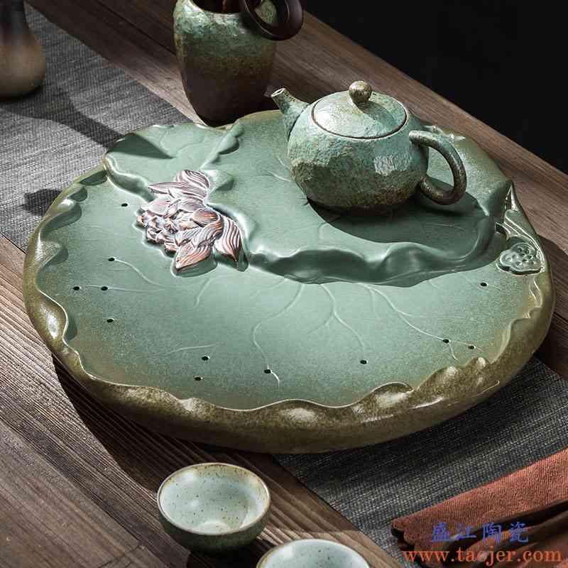 家用创意干泡台日式简易陶瓷茶盘荷花功夫茶具托盘粗陶储水小套装
