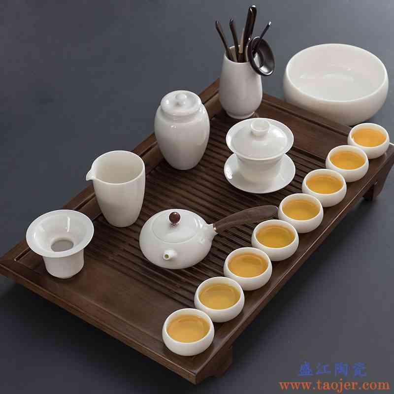 德化羊脂玉瓷功夫茶具套装家用茶盘白瓷盖碗茶壶茶杯中式禅意办公