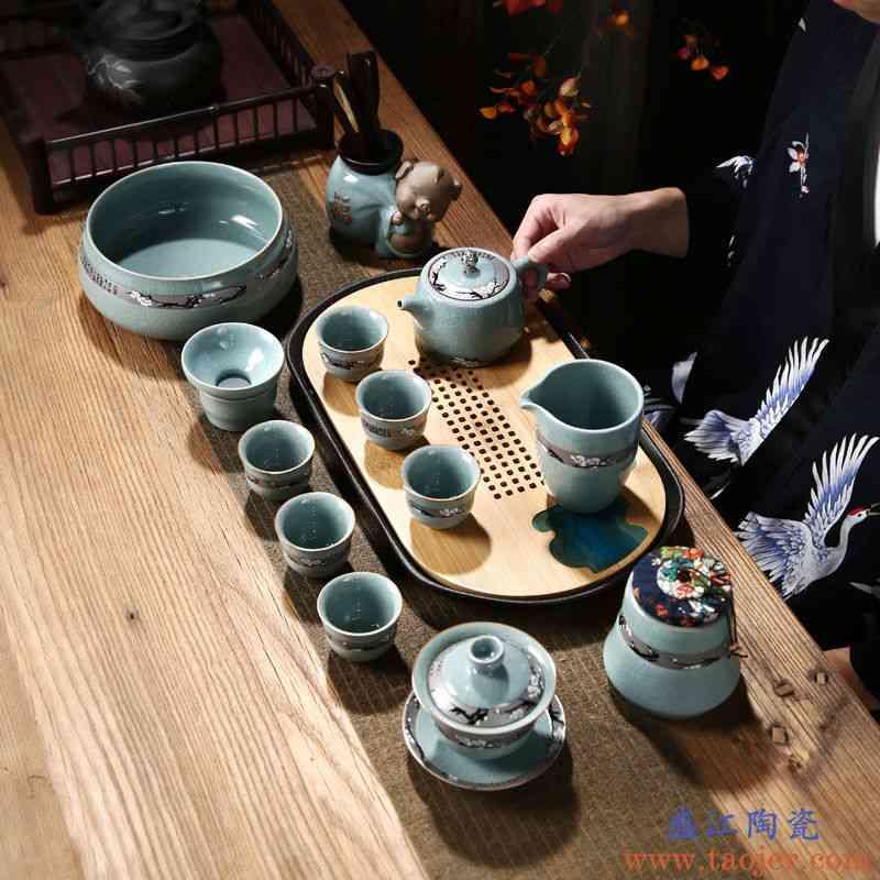整套功夫茶具套装家用简约陶瓷复古哥窑冰裂日式开片茶壶茶杯茶道