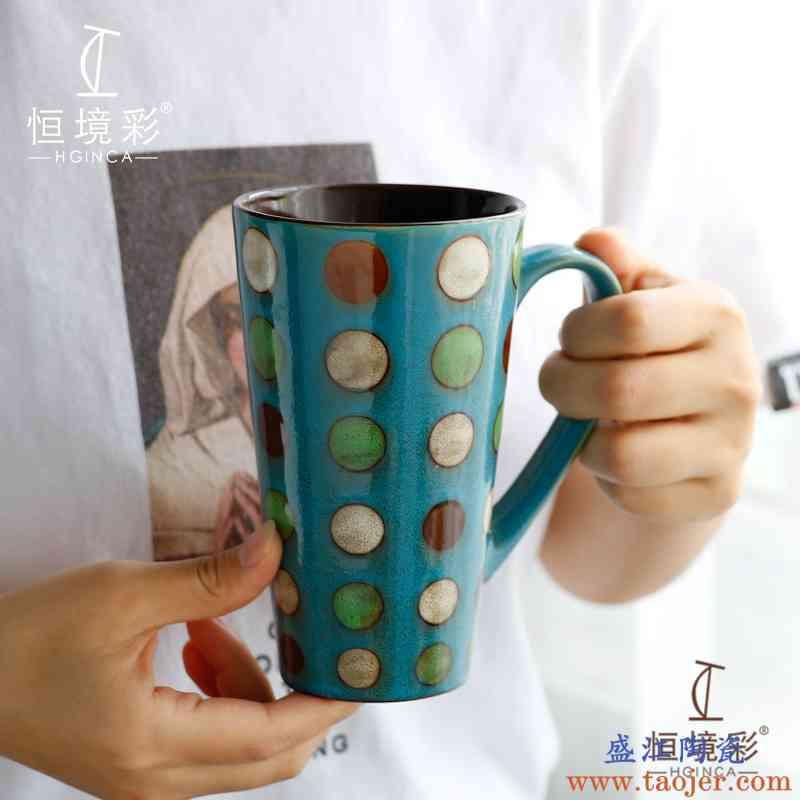 北欧风马克杯带盖勺大容量超大500ml陶瓷杯子简约ins风情侣杯一对