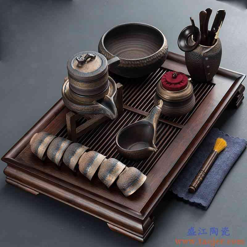 粗陶石磨自动茶具功夫套装复古中式懒人泡茶器茶盘家用简约储水