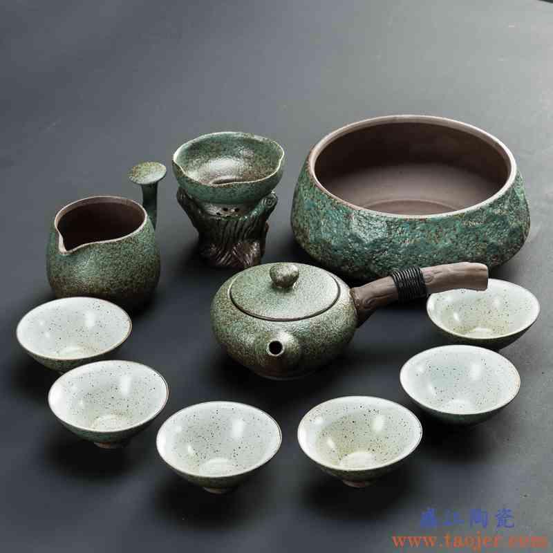 日式功夫茶具套装整套茶盘家用简约陶瓷茶杯茶壶粗陶现代办公客厅