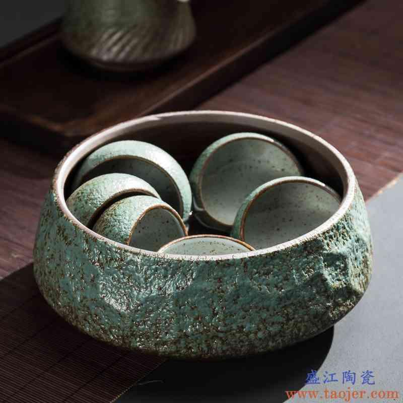 传艺窑茶洗陶瓷大号粗陶水盂杯洗黑陶茶渣缸日式功夫茶具茶道配件