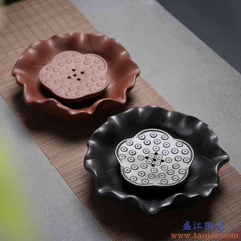 传艺窑粗陶壶承陶瓷干泡台紫砂壶可用 壶托壶垫日式茶承 茶具配件
