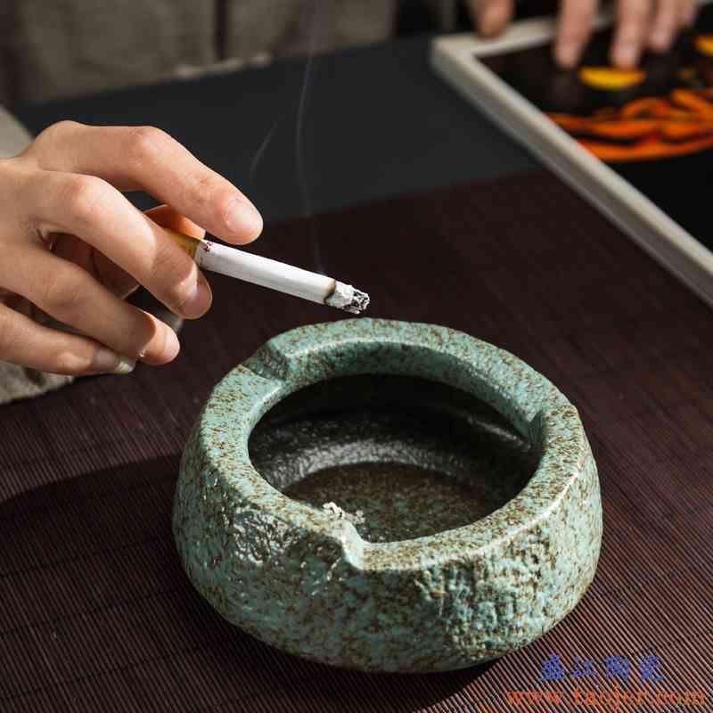 传艺窑大号粗陶烟灰缸创意烟缸个性办公家用摆件礼品礼物家居饰品