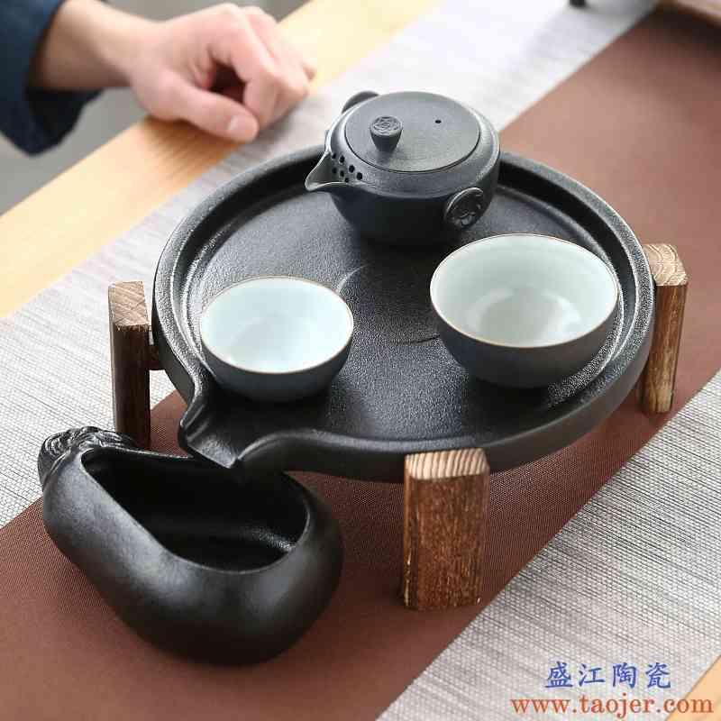 迷你石磨小茶盘陶瓷功夫茶具家用简约托盘储水干泡台黑陶茶壶茶海