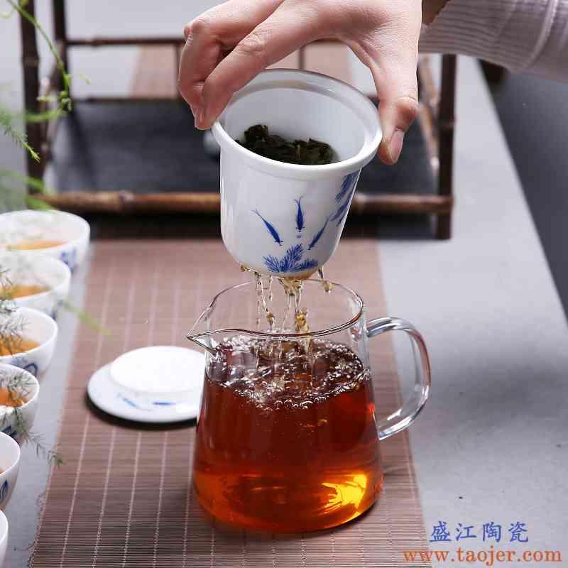 传艺窑手绘玻璃茶壶加厚耐热泡茶具陶瓷过滤内胆红茶壶功夫冲茶器