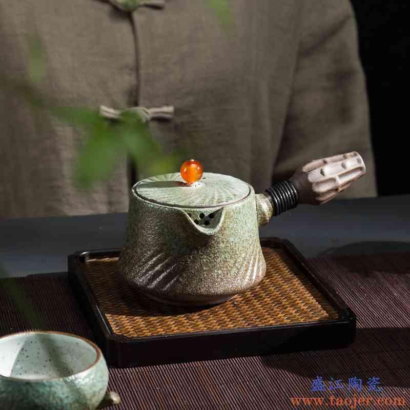 传艺窑日式粗陶茶壶单壶陶瓷泡茶壶家用复古侧把长柄壶功夫茶具