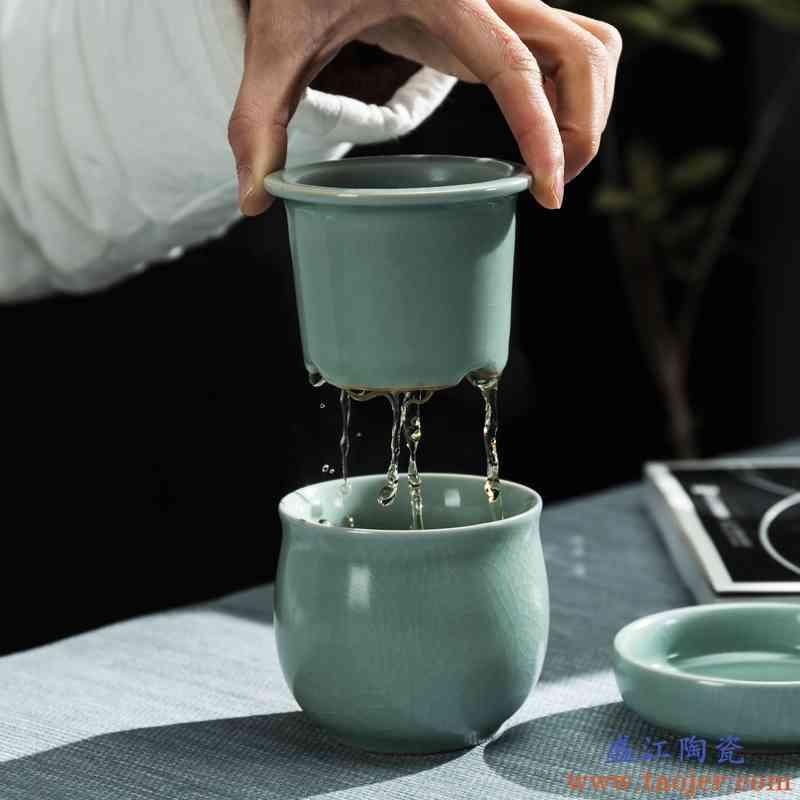 传艺窑汝窑迷你便携随身旅行茶具陶瓷泡茶杯个人陶瓷功夫快客杯