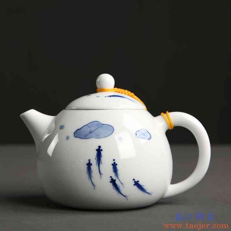 传艺窑釉下彩手绘青花鱼茶壶陶瓷西施壶功夫茶具家用泡茶壶单壶