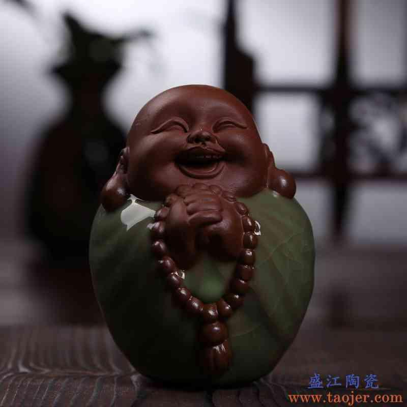晨翔 八喜佛哥窑茶宠 精品紫砂宜兴摆件沙弥佛和尚 茶趣茶玩摆件