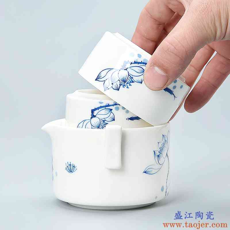传艺窑手绘快客杯陶瓷旅行包 一壶两杯个人办公功夫茶具茶壶茶杯
