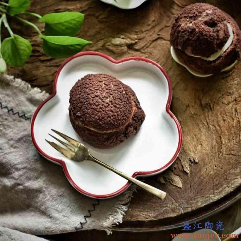 日式创意花朵造型陶瓷餐盘早餐盘下午茶点心碟小清新蛋糕盘餐具