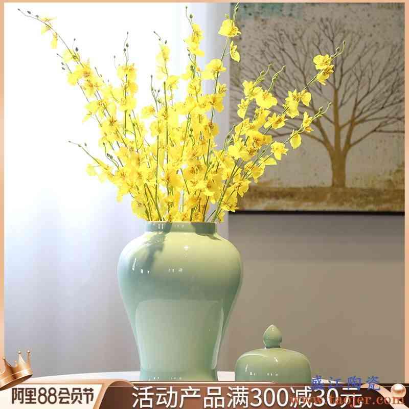 新中式玄关酒柜台面花瓶将军罐茶叶罐储蓄罐装饰花插客厅陶瓷摆件