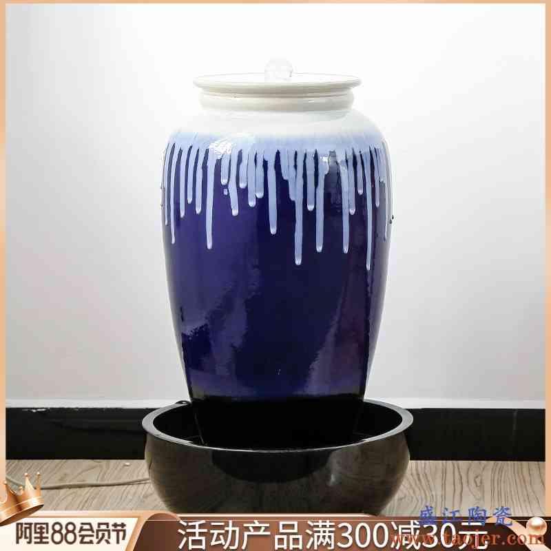 流水器陶瓷喷泉加湿器大摆件客厅水景风水轮招财鱼缸落地酒店装饰