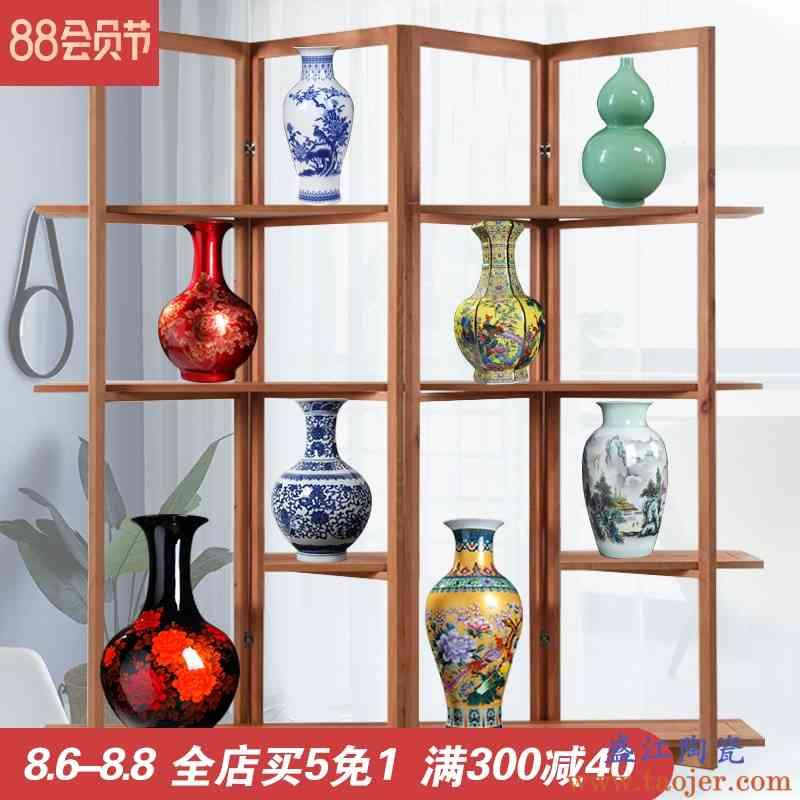 陶瓷器花瓶摆件客厅插花干花景德镇现代电视柜子博古架装饰工艺品