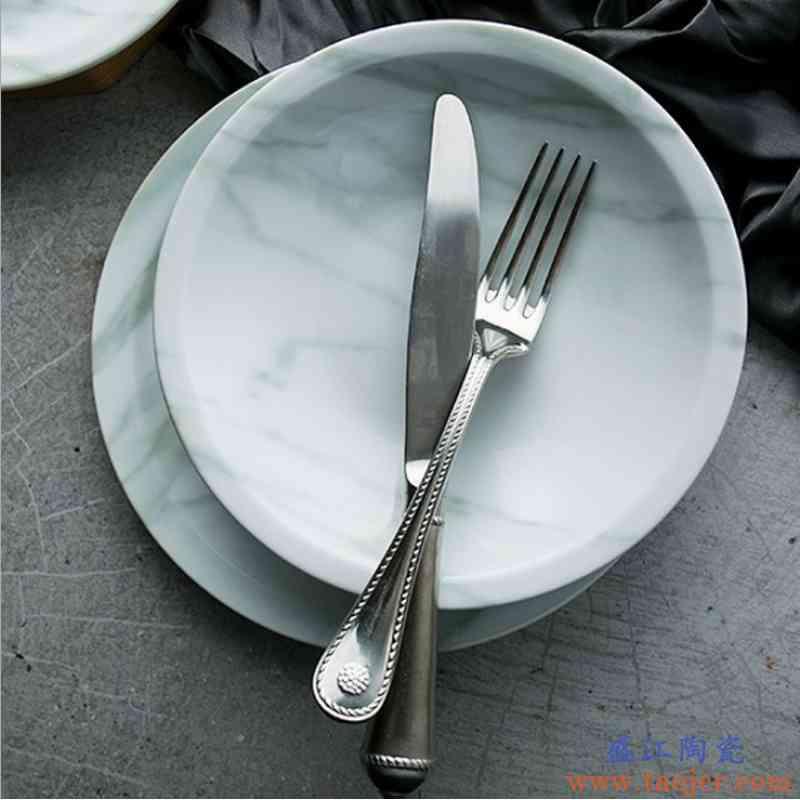 大理石盘蓝染系列 浅盘欧式新骨瓷餐盘牛排盘汤盘菜盘水果点心盘