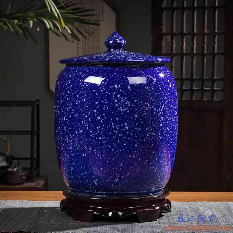 景德镇陶瓷米缸家用带盖密封防潮防虫装30斤50斤100斤面粉储物罐